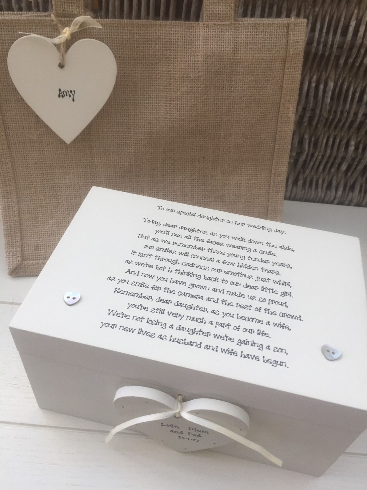 Gifts On Wedding Day For Bride: Shabby Personalised Chic Gift For A Special Daughter On